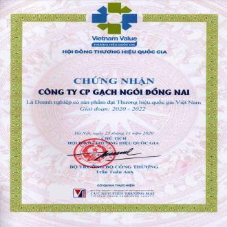 Gạch Ngói Đồng Nai đạt chứng nhận thương hiệu quốc gia 2020